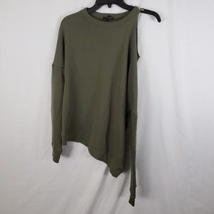 BLACK ORCHID Olive Green Shoulder Cutout Sweater